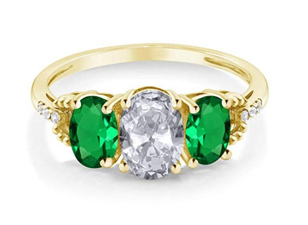 1.82 ct oval white topaz green simulated emerald 10k yellow gold ring