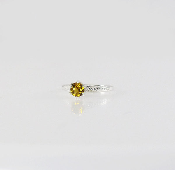October Birthstone Rings - yellow tourmaline solitaire October birthstone ring