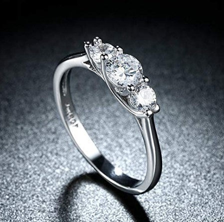 18k white gold plated cubic zirconia wedding engagement ring for women
