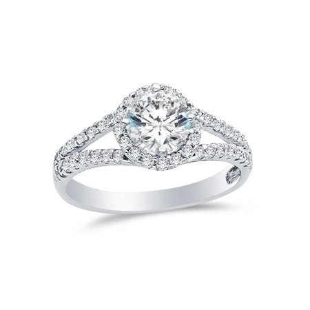 1.5 ct. cz cubic zirconia solid 14k white gold round cut halo wedding engagement ring with side stones