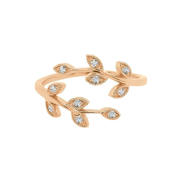 Stackable Diamond Rings - 0.10 ct g-h color 14k gold diamond bypass leaf ring