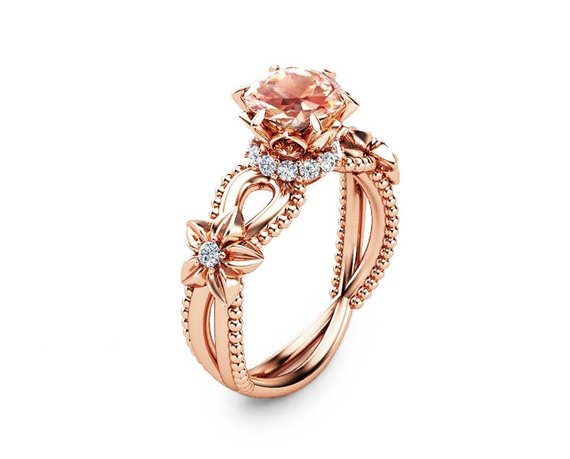 Rose Gold Rings For Women - Handmade Unique Pink Morganite 14K Rose Gold Flower Engagement Ring