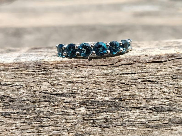 London blue topaz half eternity stacking December birthstone band ring