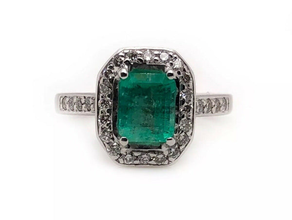 18k solid white gold 1.58 ct natural diamond & emerald womens halo ring