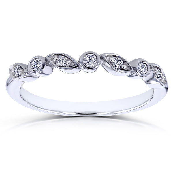 Stackable Diamond Rings - 10k white gold stackable diamond ring