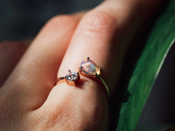 Rose Gold Rings For Women - Dazzling Opal and Cubic Zirconia Gemstones Rose Gold Ring for Women