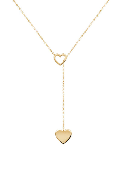 14k yellow gold love heart lariat necklace
