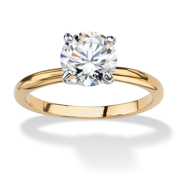 Yellow gold-plated cubic zirconia solitaire engagement ring