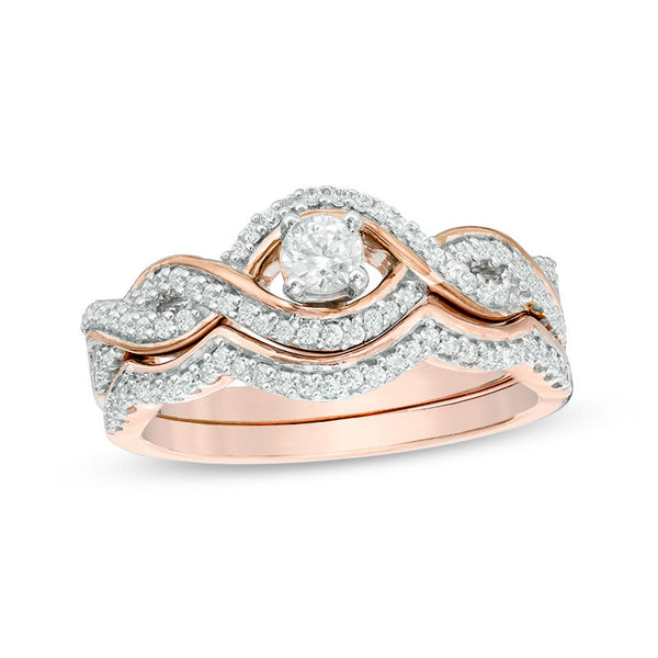 charming 10k rose gold diamond studded engagement ring for women - wedding ring sets, wedding ring sets for her, womens wedding ring sets