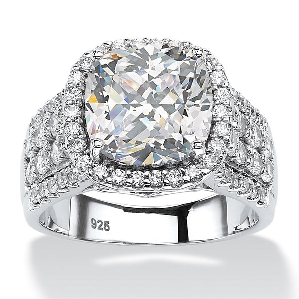 Platinum over sterling silver cubic zirconia engagement ring