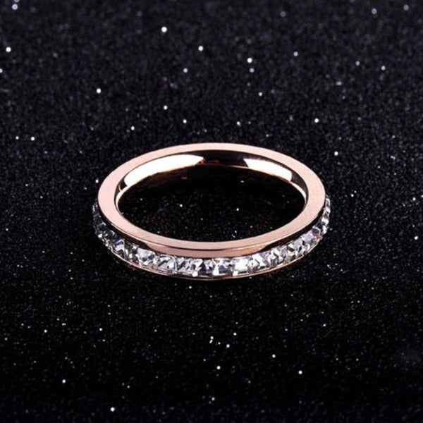 18k gold/silver/rose gold cz titanium steel women's wedding band ring