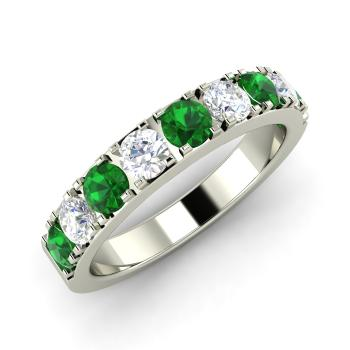 0.95 carat emerald and diamond wedding ring in 14k white gold