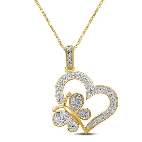 Diamond Chain Necklaces - unending love 10k yellow gold 1/8 cttw diamond butterfly heart pendant necklace