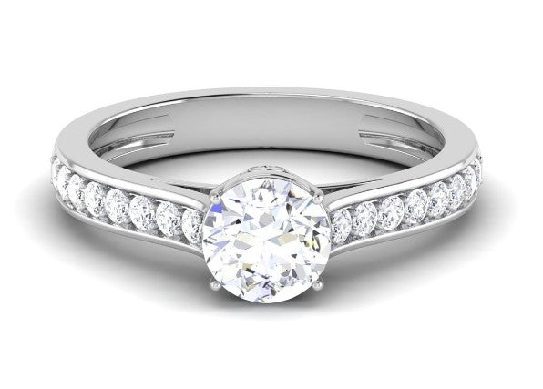 Platinum solitaire engagement ring with diamond shank for women