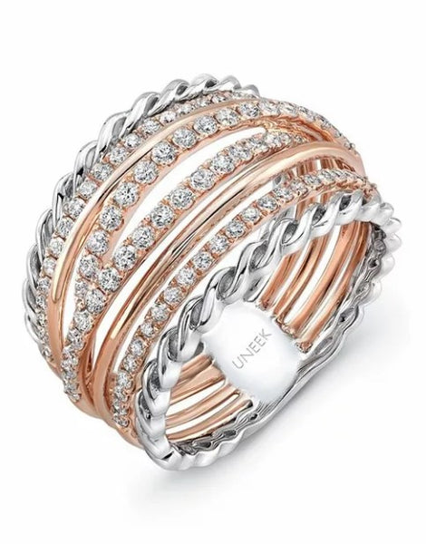 Wedding Rings For Women - Lustrous Lace Patterned White Gold Rose Gold Wedding Band Rings With Sparkling Diamonds