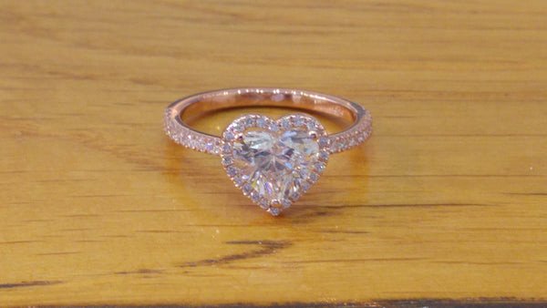 Heart Shaped Diamond Ring - heart shaped 1 1/2 carat rose gold diamond engagement ring
