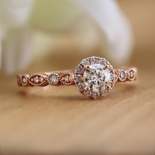 Stackable Diamond Rings - vintage 14k gold carved 3/4cttw round halo diamond engagement ring