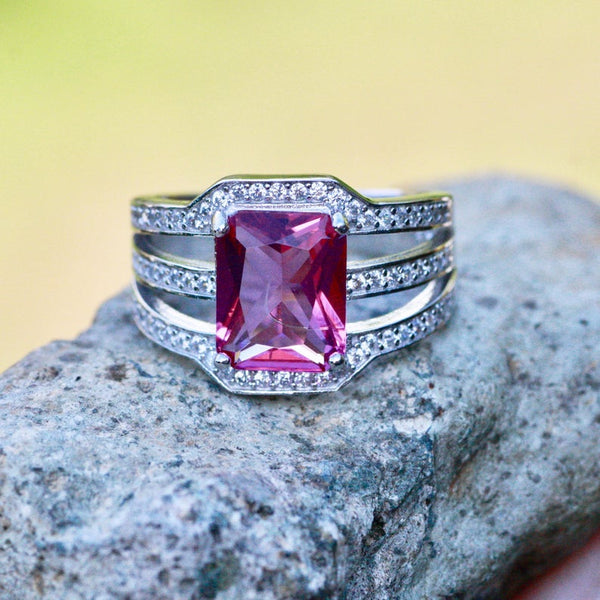 Solid sterling silver 925 large pink sapphire September birthstone engagement right hand ring