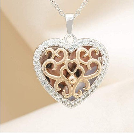 Fine 14k rose gold-custom photo heart with you locket necklace