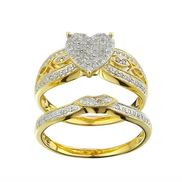 10k yellow gold female wedding ring set textured with diamond coverage - wedding ring sets, wedding ring sets for her, womens wedding ring sets