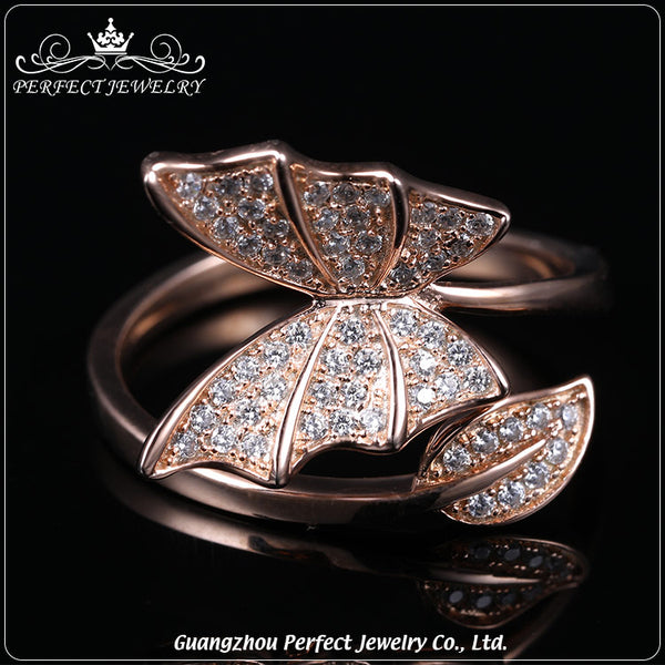 Rose Gold Rings For Women - Butterfly Rose Gold Fashion Round CZ Textured Women's Statement Ring