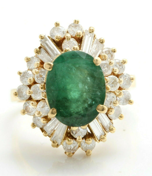 5.50 carat natural emerald and diamonds in 18k solid yellow gold women ring