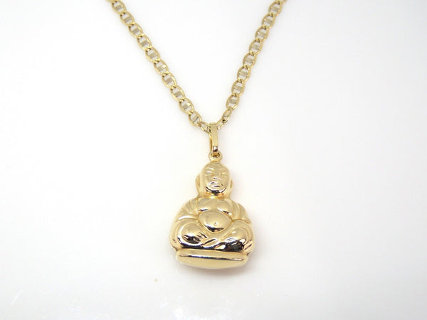 3D puffed solid 14k gold buddha pendant lucky religious charm necklace