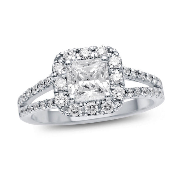 1 ct. t.w. certified princess-cut diamond frame split shank engagement ring in platinum