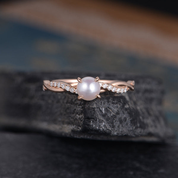 June Birthstone Rings - rose gold 5mm round cut natural Akoya pink infinity pearl solitaire June birthstone twist half eternity engagement ring