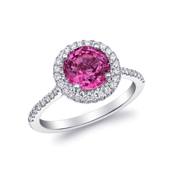 Natural pink sapphire 2.19 carats set in 14k white gold ring with 0.27 carats diamonds