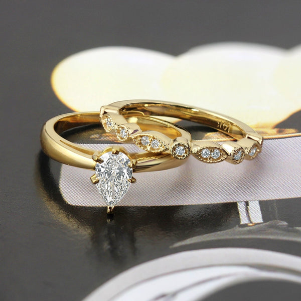 Stackable Diamond Rings - 14k gold 1/2ctw vintage pear shaped solitaire diamond engagement ring set