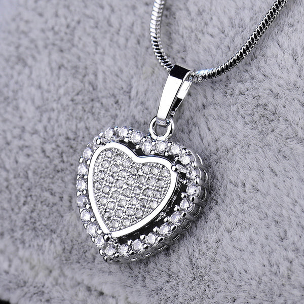 Two hearts crystal cubic zirconia silver gold filled women pendant necklace