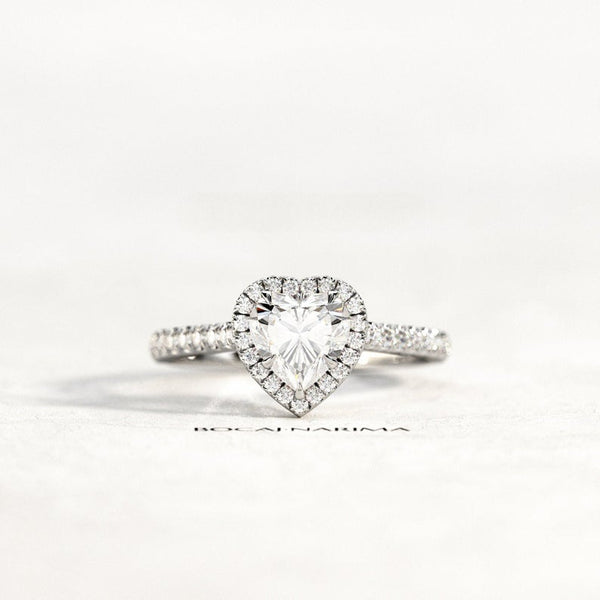 Heart Shaped Diamond Ring - heart shaped pave halo 1 carat / 2 carat heart forever one moissanite engagement ring