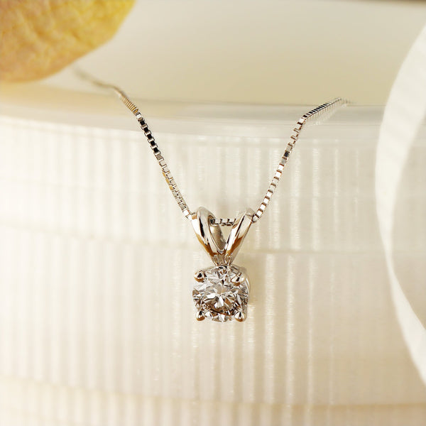 Diamond Chain Necklaces - 14k gold clarity-enhanced round solitaire diamond necklace