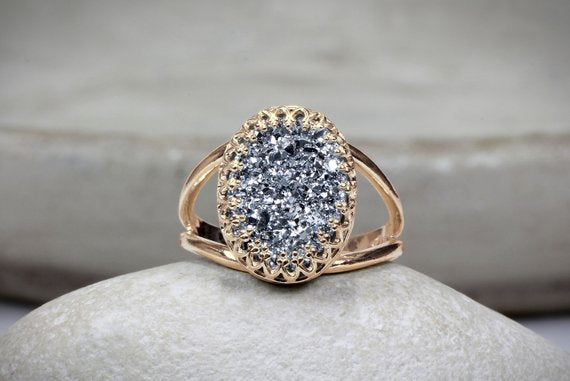 Rose Gold Rings For Women - Oval Gray Stone Textured Fashion Rose Gold Druzy Agate Ring for Women
