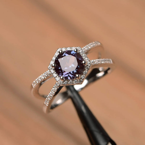 June Birthstone Rings - sterling silver round cut lab alexandrite June birthstone engagement ring
