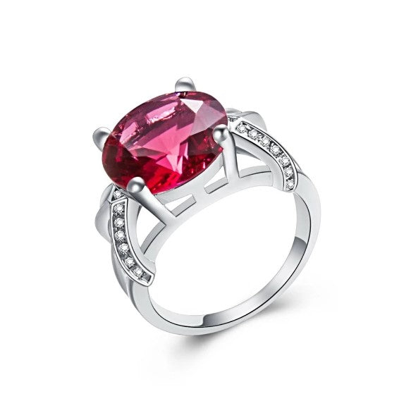 October Birthstone Rings - pink tourmaline & white silver ring for women born in October