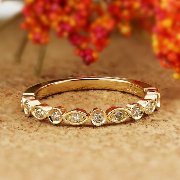 Stackable Diamond Rings - 10k gold 1/8cttw petite ultra-thin vintage stackable diamond ring