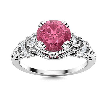 1.26 carat pink sapphire and diamond vintage ring in 14k white gold