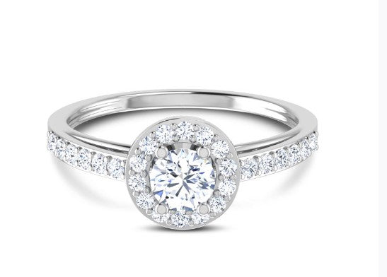 Round halo solitaire ring