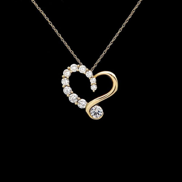 Open heart pendant 1ct.t.w. created diamond 14k solid yellow gold journey charm