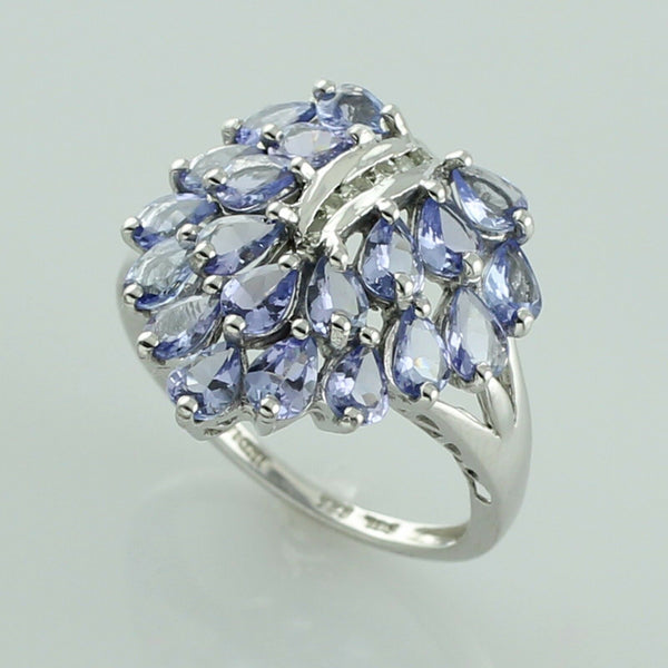925 silver tanzanite 2.86 ct. December birthstone ring