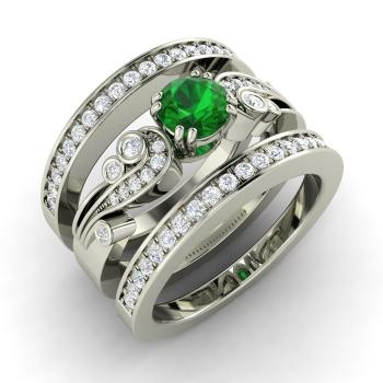 1.0 carat emerald and diamond bridal set ring in 14k white gold