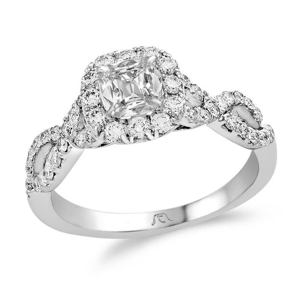 1-1/6 ct. t.w. certified cushion-cut diamond frame twist engagement ring in platinum
