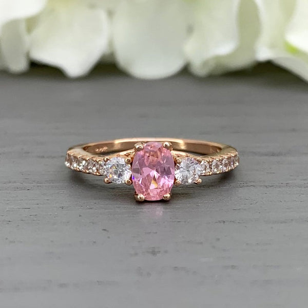 Sterling silver rose gold oval light pink simulated diamond sapphire engagement promise wedding ring