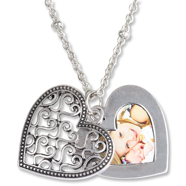 Ornate heart picture slide locket necklace