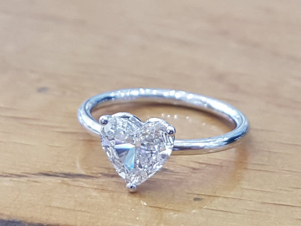 Heart Shaped Diamond Ring - white gold 1 carat diamond solitaire heart shaped engagement ring