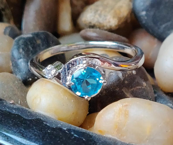 925 sterling silver natural blue topaz December birthstone promise ring