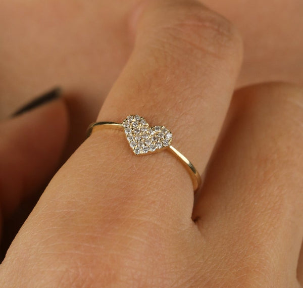 Stackable Diamond Rings - 14k gold 0.20 ctw diamond heart stacking ring