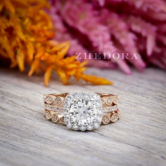 Rose Gold Rings For Women - White Sapphire Rose Gold Bridal Moissanite Round Cut Ring for Women